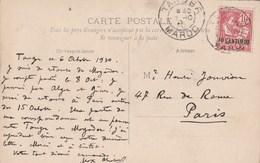 Maroc Yvert 12 Cachet TANGER 7/10/1910 Sur Carte Postale Pour Paris - Storia Postale