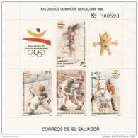 El Salvador Nº Michel 1741A Al 1748A En 2 Hojas - Verano 1992: Barcelona