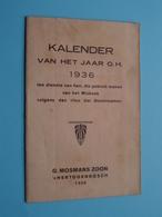 KALENDER Van Het Jaar O.H. 1936 > Misboek Dominicanen ( G. Mosmans 's Hertogenbosch > Zie Foto Voor Detail ) Compleet ! - Klein Formaat: 1921-40