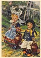 PIE.T Jm2.19-7538 : CARTE ILLUSTREE PAR CHARLES HOMUALK. BRETAGNE. PONT AVEN. ENFANTS AU RETOUR DE LA FONTAINE. - Pont Aven