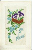 CARTE POSTALE FANTAISIE BRODEE - Sainte Marie - Embroidered