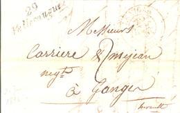 Gard - Valleraugue Pour Ganges. Cursive + CàD Type 13 Du Vigan. 20 Juin1835 - Marcophilie (Lettres)