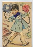 Germaine BOURET: Garçon  Avec Fleurs Et Chapeau (collage) - YDA Paris 646 - Bouret, Germaine