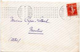 PARIS XX 200 R DES PYRENEES 1913 = FLAMME CHAMBON Sur Enveloppe ENTIERE - Marcophilie (Lettres)