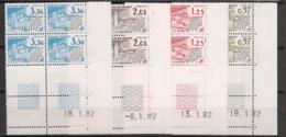 France - 1982 - Préo N°Yv. 174 à 177 - Série Complète En Blocs De 4 Coin Daté - Neuf Luxe ** / MNH / Postfrisch - Prematasellados