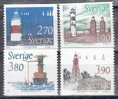 Schweden 1989 - Leuchttuerme, Mi-Nr. 1526/29, MNH** - Sweden