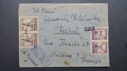 1946 Lettre Recommandé De Przystajn Obl. Manuscrite  , Registered Cover From Przystajn 1946 To France Hand Cancellation - Polen