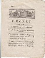 France DECRET De La CONVENTION NATIONALE 23 Avril 1793 Armée De La Belgique (s80) - Decreti & Leggi