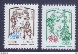 Paire De Timbres (0,10 Et 0,80) Marianne Ciappa Surchargée 2013/2018 - Salon Paris Philex (2018) Neuf - France