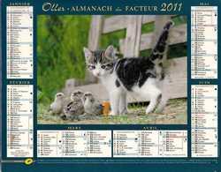°° Calendrier Almanach La Poste 2011 Oller - Dépt 37 - Chaton - Kalenders