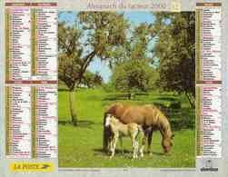 °° Calendrier Almanach La Poste 2000 Oberthur - Dépt 72 - Chevaux Et Chien - Calendriers