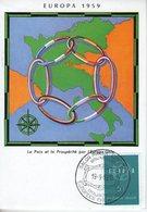 Belgique. Carte Maximum. Europa 1959 - Maximumkarten (MC)