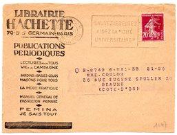 PARIS 25 R DANTON 1937 = FLAMME FLIER ' Sauvez Les élites Aidez La Cité Universitaire ' Perforé HACHETTE - Marcophilie (Lettres)