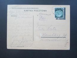 Generalgouvernement Nr. 3 EF Auf Polnische Ganzsache Geklebt / überklebt Deutsche Post Osten Und Nebenstempel Piask. - Besetzungen 1938-45
