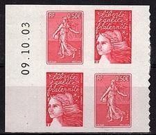ADH 47 - FRANCE Adhésifs P 36 Semeuse Et Luquet 2 Paires En Bloc De 4 Coin Daté Neufs** à La Faciale - France