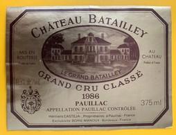 10801 - Château Batailley 1986 Pauillac - Bordeaux