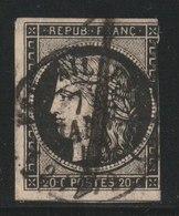 YT 3 Obl  20c Noir Belle Oblitération 7 Janvier 1849 De Versailles, Un Filet Coupé, ST - 1849-1850 Ceres