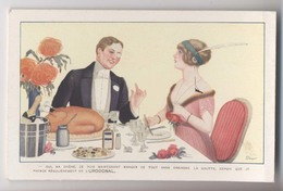 Illustrateur DRAEGER - Repas - Champagne - Art Deco - Publicité Urodonal - Künstlerkarten