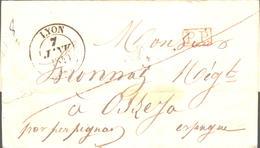 Marseille 12 Cachet Type 13 Lettre Pour GANGES HERAULT Du 15 Juin 1836 - Marcophilie (Lettres)