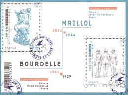 France Oblitération Cachet à Date BF N° F 4626 - Sculptures D'Antoine Bourdelle Et D'Aristide Maillol - Blocks & Kleinbögen