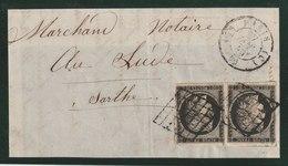 YT 3  20c Noir Paire Sur Devant De Lettre, Oblit Grille, CAD 27 Janvier 1849 - 1849-1850 Cérès