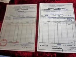 1938 & 1943 -2 LOTS ACHAT ACTIONS TITRES-OBLIGATIONS 500fr-VILLE PARIS1894/96-Relevé Numérique-SOCIÉTÉ GÉNÉRALE CHINON - Aandelen