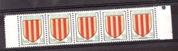 Décalage Progressif Du Rouge Sur Bande De 5 Du N° 1044 - Neuf ** - Comté De Foix - Variétés: 1950-59 Neufs