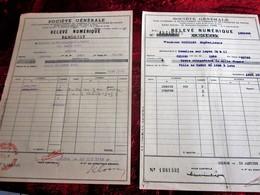 WWII-1937/43-2 LOTS ACHAT ACTIONS TITRES-OBLIGATIONS 1000fr-VILLE PARIS 1930-12-Relevé Numérique-SOCIÉTÉ GÉNÉRALE CHINON - Aandelen