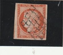 France N° 540 Centimes Orange Belle Présentatation, Belle Marge, Oblitération Grille  Mais Un Pli Horizontal Visible.... - 1849-1850 Ceres