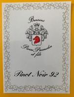 10818 - Pinot Noir 92 Pierre Parmelin Bursins Suisse - Etiquettes