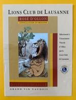 10819 - Lions Club De Lausanne Suisse Ollon 2 étiquettes Illustration André-Paul Perret - Autres