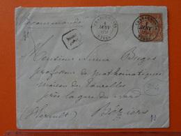 304 CHARGEMENT/NIMES (Gard) Sur 40c Sage T2 En LR Du 1.1.1889 Pour Béziers (Hérault) - Marcophilie (Lettres)