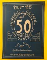 10820 - 1943-1993 50 Ans Entreprise Gilomen Maconnerie Suisse Clos Genevaz 1992 Grandvaux - Etiquettes