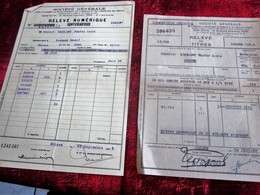 1939/50-2 LOTS ACHAT ACTIONS Relevé Numérique TITRES-OBLIGATIONS 10x250fr-Crédit Foncier F 1909 -SOCIÉTÉ GÉNÉRALE CHINON - Aandelen