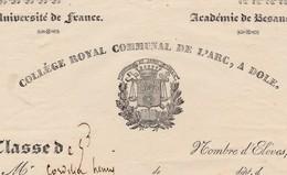 1832 (?) / Bulletin Scolaire Collège Royal De L'Arc / Dôle 39 Jura - Diploma & School Reports