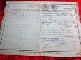 WW1-1918-RÉCÉPISSÉ DÉPÔT ACHAT ACTION TITRE-OBLIGATION COMMUNALE CHEMINS DE FER FRANÇAIS -SOCIÉTÉ GÉNÉRALE CHINON-Fiscal - Aandelen