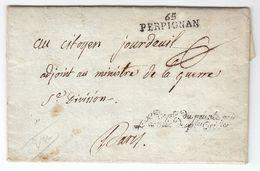 France An 2 / 1794 'Rept Du Peuple Près L'armée Des Ples Oriles' ARMEE PYRENEES ORIENTALES Signeé Doppet Perpignan (s86) - Storia Postale