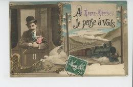 """LAGNY - Jolie Carte Fantaisie Homme Dans Train """"A LAGNY THORIGNY , Je Pense à Vous """" - Lagny Sur Marne"""