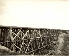 THE BIG COULES TRESTLE MILE 352.5 HUDSON BAY RAILWAY  Canada 24*18CM Fonds Victor FORBIN 1864-1947 - Trenes