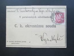 Österreich 1912 Nr. 144 EF Faltbrief Mit Inhalt V Porucenskych Zalezitostech C.K. Okresnimu Soudu - Briefe U. Dokumente