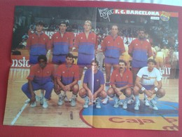 ANTIGUO POSTER BALONCESTO LOS RECORDS DEL BASKET BALL FÚTBOL CLUB BARCELONA ESTUDIANTES 85 86 ESPAÑA SPAIN BASKETBALL VE - Sport