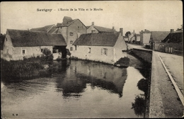 Cp Savigny Rhône, L'Entree De La Ville Et Le Moulin - Other Municipalities