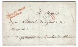 France An 2 / 1794 'Agence Des Armes Portatives' & P Triangulaire En Rouge Paris Pour Marseille, Belle Vignette (s87) - Storia Postale