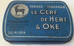 Tobacco Tin, Tabacs-Tabakken Le Cerf De Hert & Oke, H.Van Israel, 23 Volderstraat Onkerzele(Grammont)Tel 41.004 Rare Tin - Boites à Tabac Vides