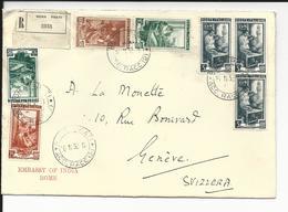 Lettre Recommandée (Rome)  Italie (Embassade D'Inde) Pour Genéve (Suisse)  1952 Avec Bel Affranchissement Métiers Sceaux - 1946-.. République
