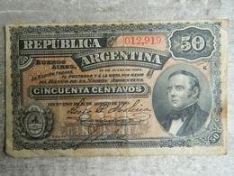 BILLET REPUBLICA ARGENTINA 50 CINCUENTA CENTAVOS QUI DATE DE 1895  ( En L'état, Voir Photos) - Argentine