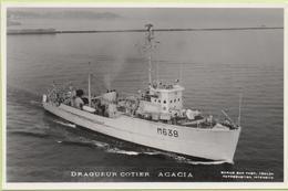 DRAGUEUR COTIER  ACACIA   / Photo Marius Bar, Toulon / Marine - Bateaux - Guerre - Militaire - Guerra