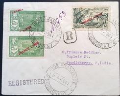 """Établissements Français Dans L' Inde VARIÉTÉ """"FRANCE LIBRE"""" 1941 Lettre Pondichery (French India Cover Exposition Paris - India (1892-1954)"""