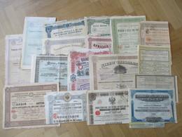 Un Lot De 100 Titres Différents : Actions Belges, Russes, Des Colonies, ... - Aandelen