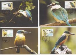WWF  - NORFOLK ISLANDS  - 2004 - WWF- SACRED KINGFISHER   SET   OF 4 MAXI CARDS - Cartoline Maximum